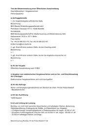 Text der Bekanntmachung einer Öffentlichen Ausschreibung ...