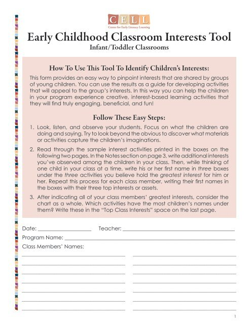 Early Childhood Classroom Interests Tool: Infant/Toddler Classrooms