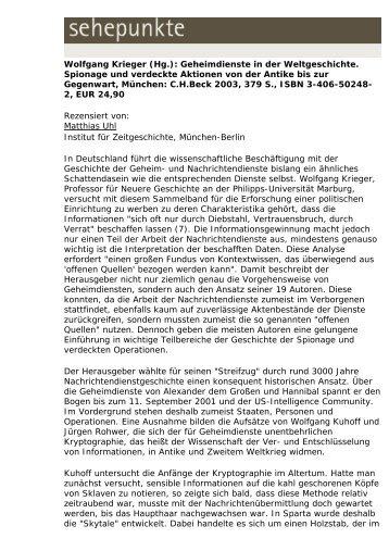 Wolfgang Krieger (Hg.): Geheimdienste in der ... - Sehepunkte