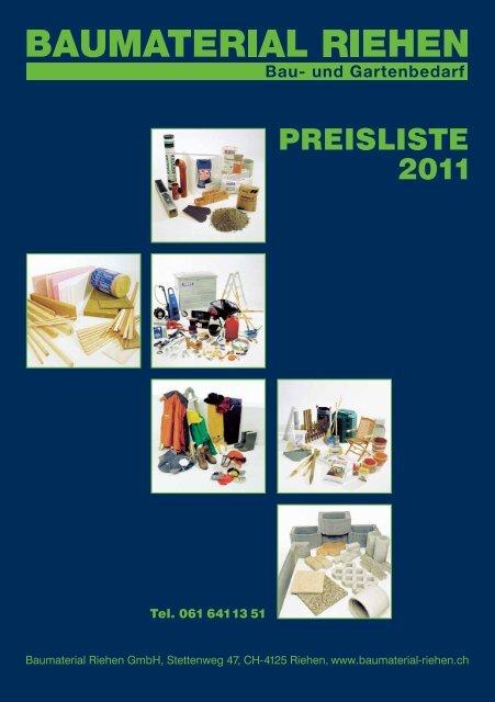 PREISLISTE 2011 - Baumaterial-Riehen