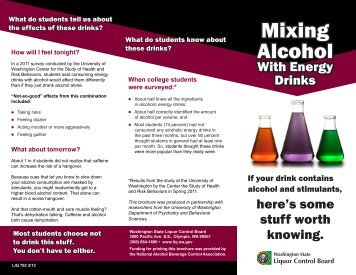 Mixing Alcohol with Energy Drinks - Washington State Liquor ...