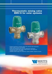 Thermostatic mixing valve MMV-S for solar systems - Watts Industries