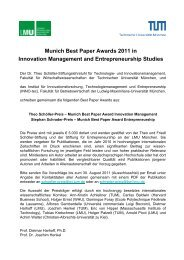 Munich Best Paper Awards 2011 in Innovation Management and ...