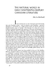 the natural world in early nineteenth-century canadian literature