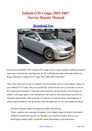 Download 2003-2007 Infiniti G35 Coupe Workshop ... - Repair manual