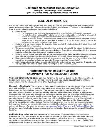 AB 540 Affidavit - Ohlone College