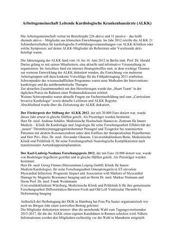 Jahresbericht 2012 der ALKK
