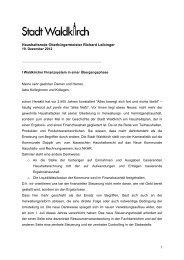 Haushaltsrede Oberbürgermeister Richard Leibinger - Stadt Waldkirch