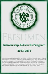 freshmen scholarship & awards - Wilmington College