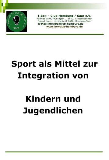 Sport als Mittel zur Integration von Kindern - 1. Boxclub Homburg ...