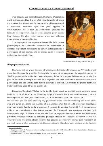 CONFUCIUS ET LE CONFUCIANISME1 - Mission TICE
