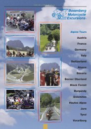 SWITZER- LAND FRANCE ITALY - Bosenberg Motorcycle Excursions