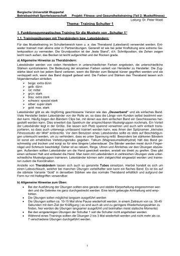Training Schulter 1 - Fachbereich Sportwissenschaft der Universität ...