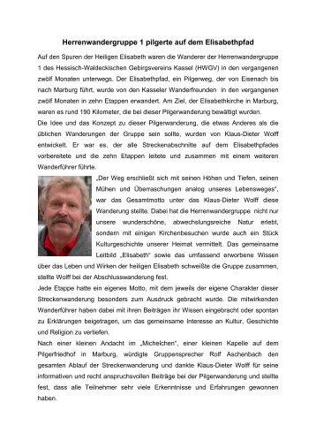 Herrenwandergruppe 1 pilgerte auf dem Elisabethpfad - Hessisch ...