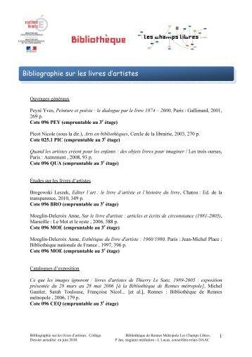 Bibliographie sur les livres d'artistes - Bibliothèque de Rennes ...