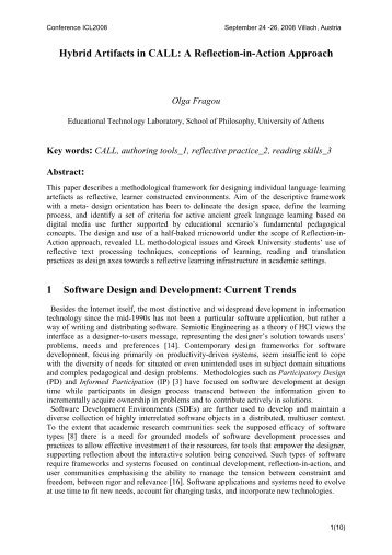 Hybrid Artifacts in CALL: A Reflection-in-Action Approach 1 ... - ICL