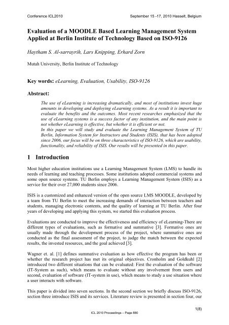 Evaluation of a MOODLE Based Learning Management     - ICL
