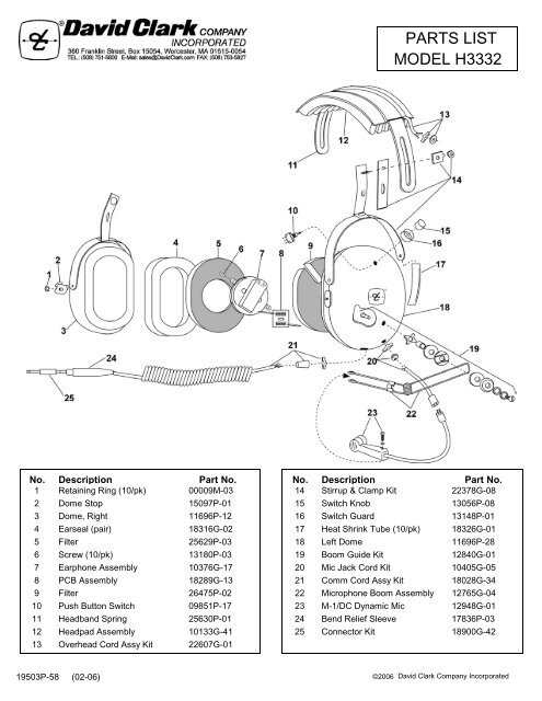 H3332/H3392 Parts List and Schematic - David Clark Company ... on