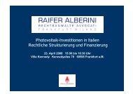 Photovoltaik-Investitionen in Italien Rechtliche Strukturierung und ...