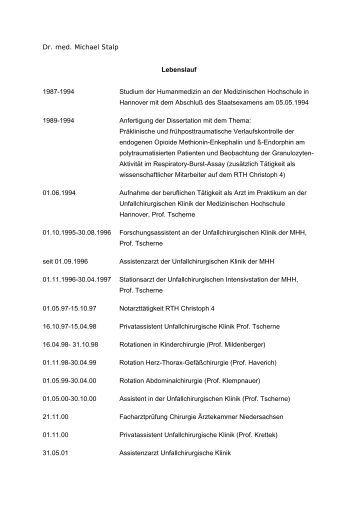 Lebenslauf 1978 - 1984 Studium Der Humanmedizin An Der