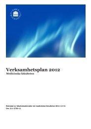 Verksamhetsplan 2012 - Medicinsk fakultet - Umeå universitet