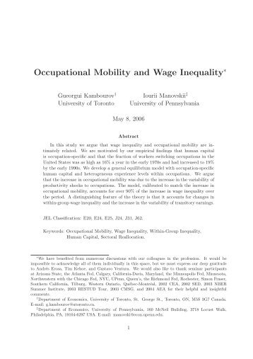 Occupational Mobility and Wage Inequality - University of Chicago ...