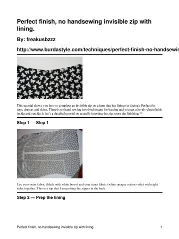 Perfect finish, no handsewing invisible zip with ... - BurdaStyle.com