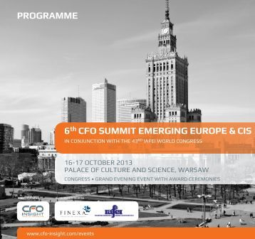 6th CFo Summit emerging euroPe & CiS Programme - CFO Insight