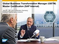 Global Business Transformation Manager (GBTM) Master ...