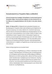Pressemitteilung zu den Evaluationsergebnissen - Perspektive 50plus