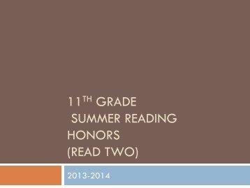 11th Grade Honors Reading Summaries