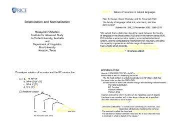 Relativization and Nominalization