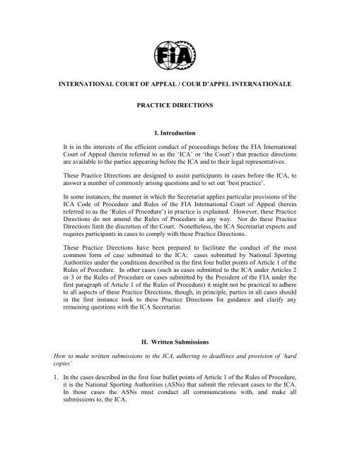International Court Of Appeal Cour D Appel Osk