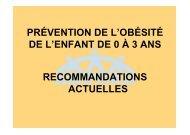 prévention de l'obésité de l'enfant de 0 à 3 ans recommandations ...
