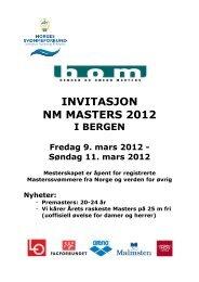 INVITASJON NM MASTERS 2012 - Norges Svømmeforbund