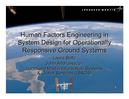 Human Factors Engineering in System Design for Operationally ...