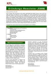 Gründungs-Newsletter (I/2008) - Gründungsservice - TU Berlin