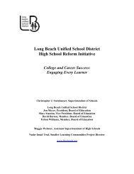 Long Beach Unified School District High School Reform Initiative