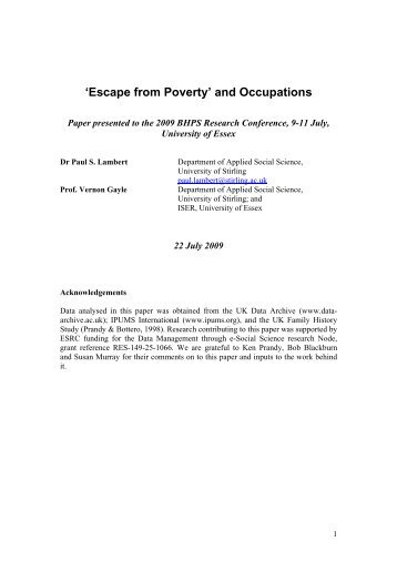 'Escape from Poverty' and Occupations - Institute for Social ...