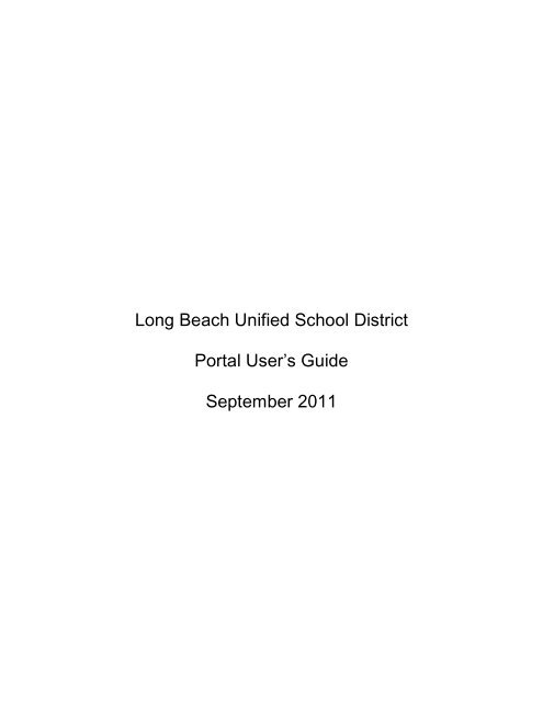 Portal Users Guide - Long Beach Unified School District