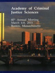2003 Annual Meeting Program - Academy of Criminal Justice ...