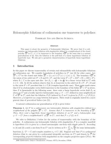 Holomorphic foliations of codimension one transverse to ... - UFRJ