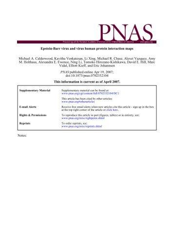 Calderwood et al, PNAS 2007 - CCSB