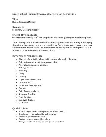 Amazing Human Resources Director Job Description Images - Best