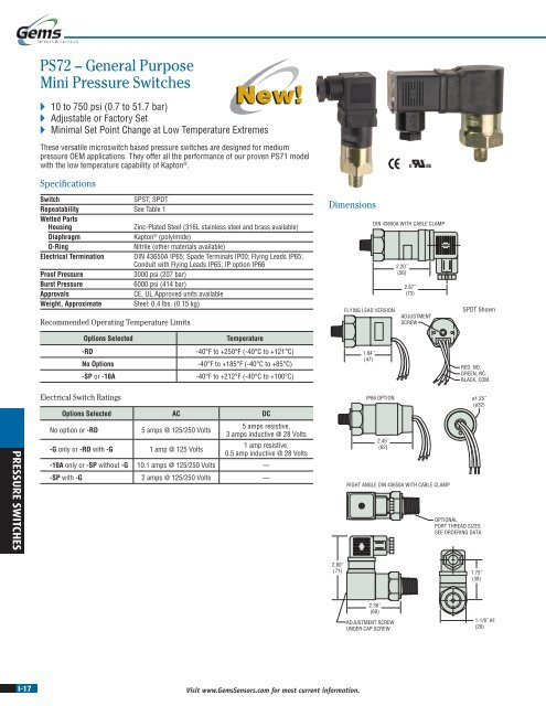 1//8 BSPM SS Fitting DIN 43650A Male Half SPDT Circuit Gems PS72-30-2MGS-C-H Series PS72 General Purpose Mini Pressure Switch 65-300 psi Range Pack of 10