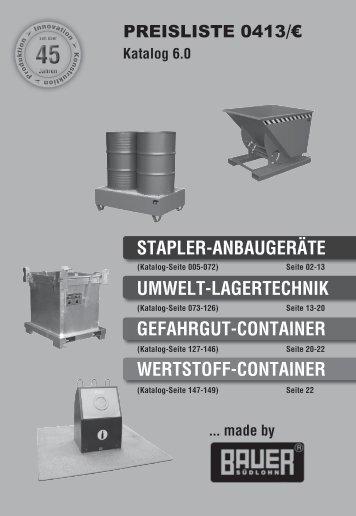 stapler-anbaugeräte umwelt-lagertechnik gefahrgut ... - Bauer GmbH