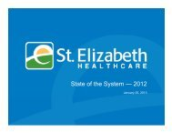 State of the System — 2012 - St. Elizabeth Medical Center