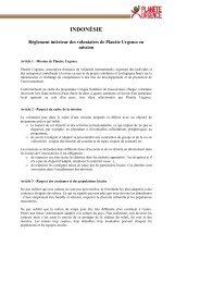 Lire le réglement intérieur de l'Indonesie - Planète Urgence