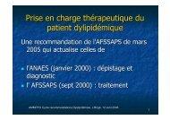 Prise en charge thérapeutique du patient dylipidémique - ammppu