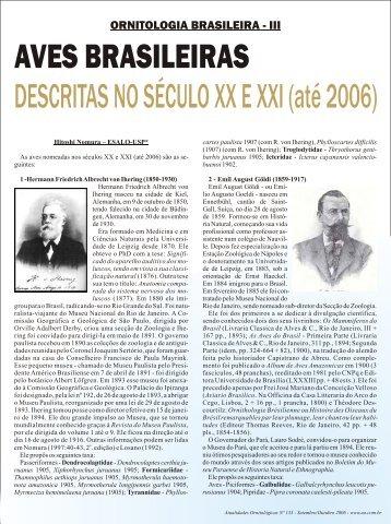 Aves brasileiras descritas nos séculos XX e XXI - Atualidades ...